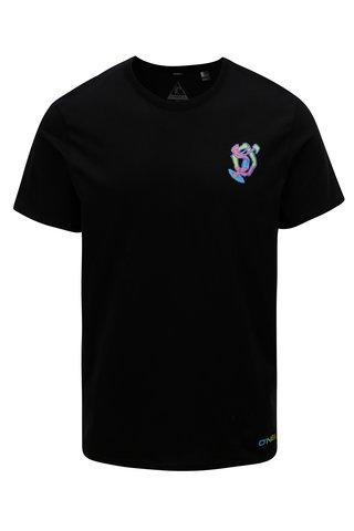 Tricou barbatesc negru regular fit cu imprimeu la spate O'Neill Beach