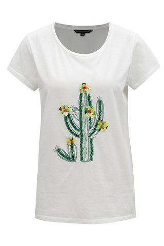 Tricou alb cu paiete French Connection Cactus
