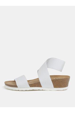Sandale albe cu platforma wedge si barete elastice - OJJU