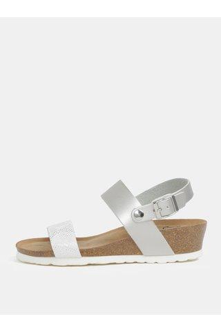 Sandale argintii cu aspect metalic si platforma wedge pentru femei - OJJU
