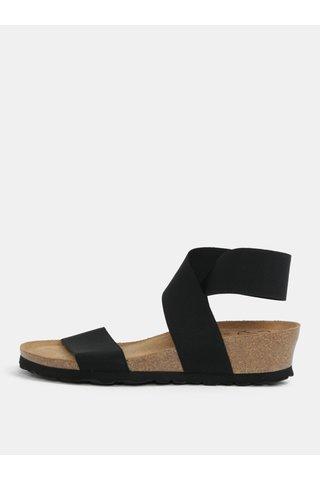 Sandale negre cu platforma wedge si barete elastice - OJJU