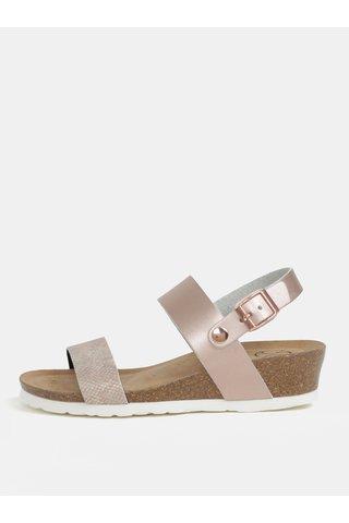 Sandale roz cu aspect metalic si platforma wedge pentru femei - OJJU