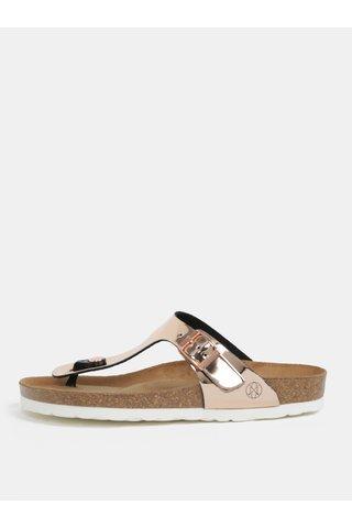 Papuci flip-flop roz auriu cu aspect metalic - OJJU Rosas