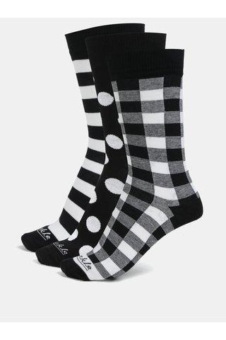 Sada tří párů unisex ponožek v černé a bílé barvě Fusakle Triangel