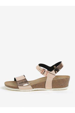 Sandale roz auriu cu aspect lucios si platforma wedge - OJJU