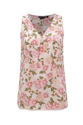 Bluza roz fara maneci cu model floral Dorothy Perkins Curve