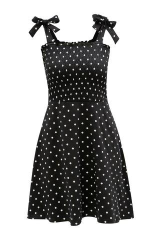 Rochie alb-negru cu buline si bretele Dorothy Perkins