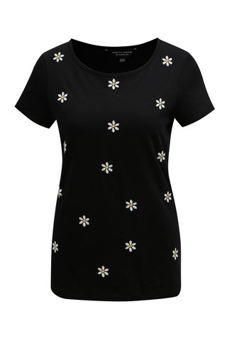Tricou negru cu broderie florala Dorothy Perkins