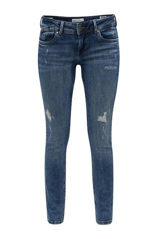 Blugi de dama albastri slim fit cu talie joasa Pepe Jeans Vera