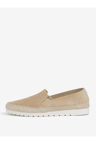 Pantofi slip-on bej din piele intoarsa cu detalii lacuite OJJU