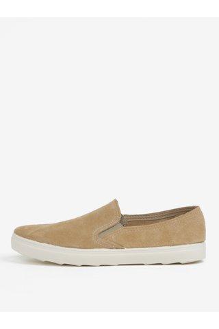 Pantofi slip-on bej din piele intoarsa OJJU
