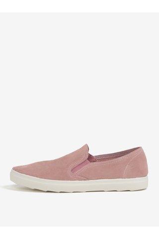 Pantofi slip-on roz inchis din piele intoarsa OJJU