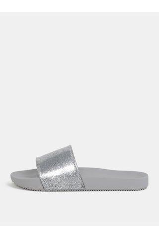Papuci argintiu-gri cu efect glitter Zaxy Snap Glitter Slide
