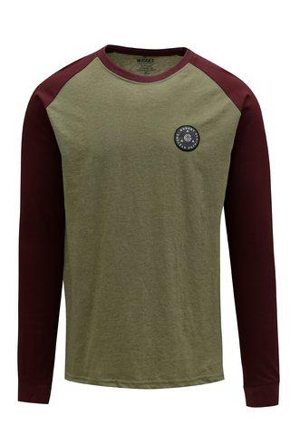 Tricou visiniu-kaki cu logo brodat pentru barbati - NUGGET Complex