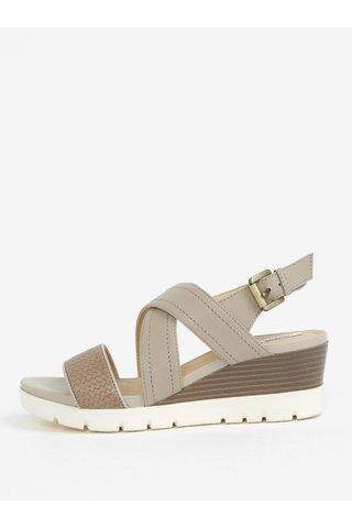 Krémové dámské sandály na klínku Geox Marykarmen