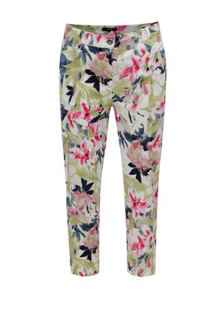 Pantaloni regular capri verde-alb cu model floral Yest