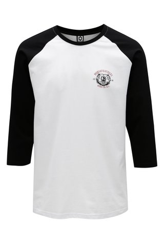 Tricou negru-alb cu maneci 3/4 pentru barbati - Horsefeathers Bear