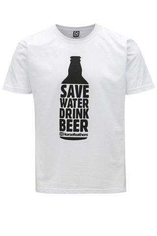 Tricou alb cu print pentru barbati - Horsefeathers Save