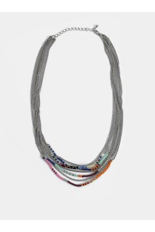 Náhrdelník ve stříbrné barvě s barevnými korálky Pieces Dora