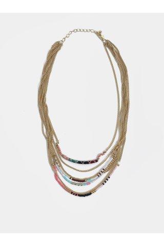 Colier auriu cu margele colorate - Pieces Dora