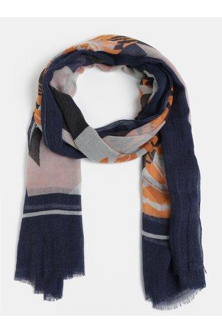 Esarfa oranj-albastru cu model - Pieces Dawn