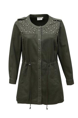 Khaki lehká dámská bunda s aplikací Zizzi