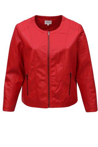 Červená koženková bunda Zizzi