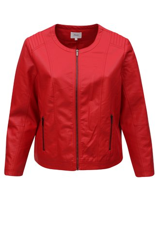 Jacheta rosie din piele sintetica Zizzi