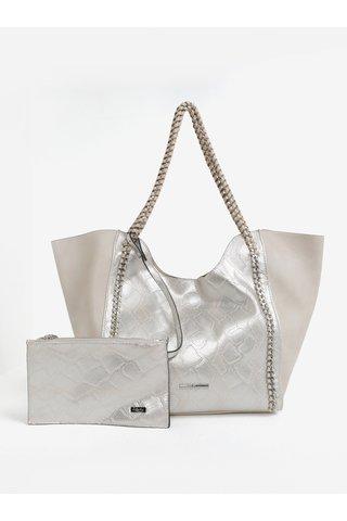 Geanta shopper bej din piele cu model sarpe metalic si portofel 2in1 Liberty by Gionni Gilda