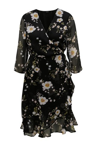 Rochie neagra cu model floral VERO MODA Kay