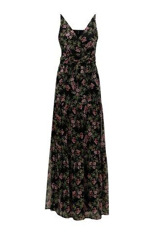 Rochie maxi neagra cu model floral VERO MODA Kay