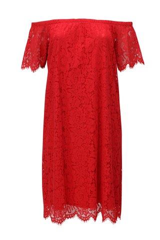Červené krajkové šaty se spadlými rameny Zizzi
