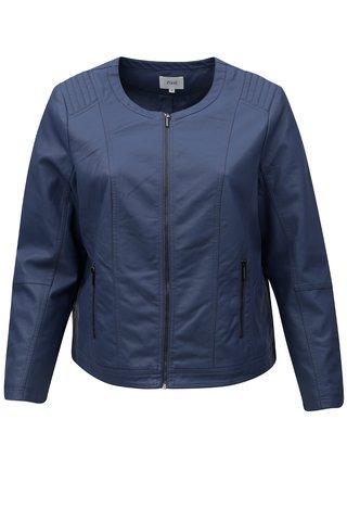 Jacheta albastra de dama din piele sintetica Zizzi