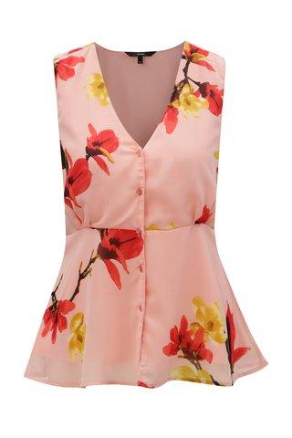 Bluza roz piersica cu model floral VERO MODA Katy
