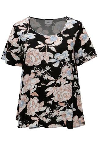Bluza neagra cu model floral Zizzi