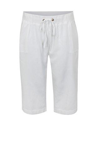 Pantaloni 3/4 albi cu amestec de in si talie inalta simply be.