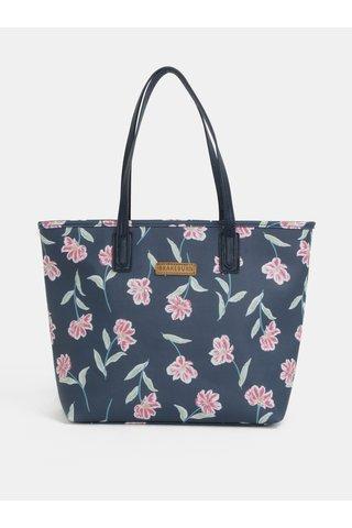 Geanta shopper albastru inchis cu model floral Brakeburn