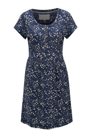 Rochie albastru inchis cu model floral cu maneci scurte Brakeburn