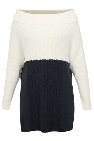 Rochie albastru-crem tricotata cu guler inalt simply be.