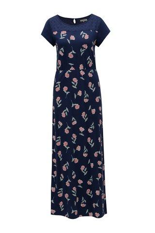 Rochie maxi albastru inchis cu model floral Brakeburn