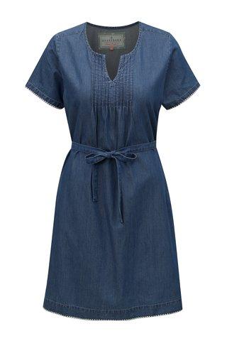 Rochie albastra din denim cu snur in talie Brakeburn