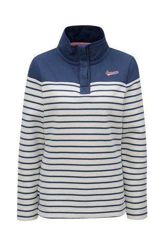 Bluza sport albastru-alb in dungi cu guler inalt Brakeburn