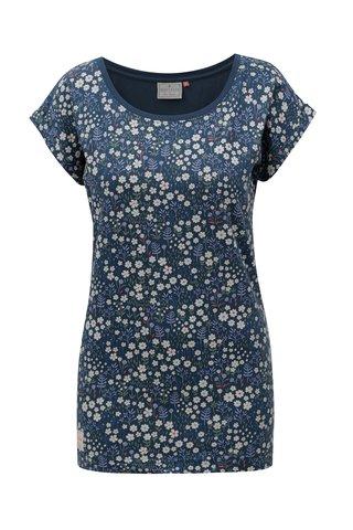 Tricou albastru inchis cu model floral Brakeburn