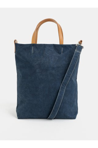 Geanta crossbody albastru inchis cu detalii din piele UASHMAMA® Otti