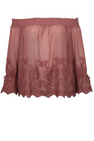 Bluza roz inchis cu decolteu pe umeri simply be.