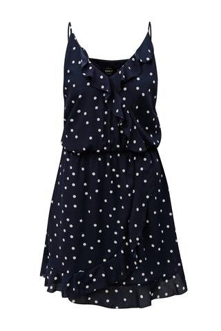 Rochie albastru inchis cu buline si volane ONLY Rubbi