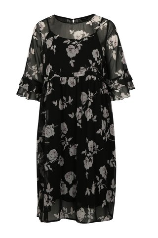 Rochie neagra cu model floral simply be.