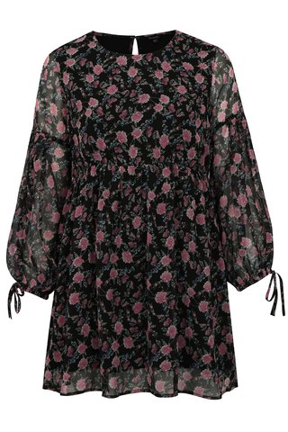Rochie neagra cu model floral si maneci lungi simply be.