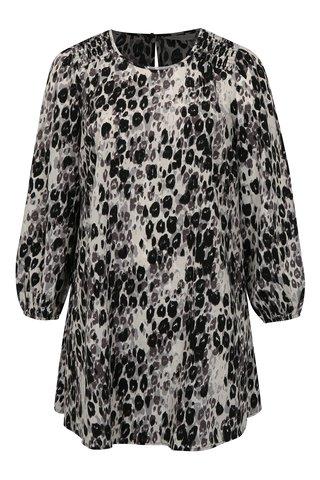 Rochie Negru-alb cu maneci lungi si model leopard simply be.