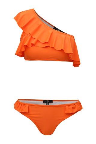 Costum de baie din 2 piese oranj cu volan MISSGUIDED